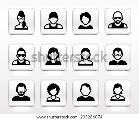 People Face Set on White Square Buttons