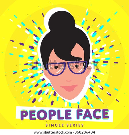 People face. Vector face icon. Face avatar. Fashion people. Flat design. Face. Girl face. Woman face. Female face. Adult face. Close up face. Human head. Human face on bright colorful background. - stock vector