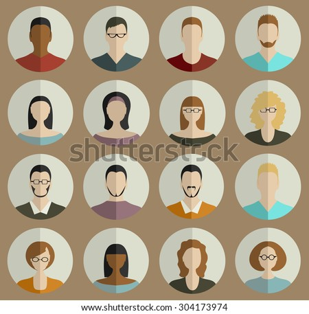 People Faces Circle Icons Set in Trendy Flat Style - stock vector