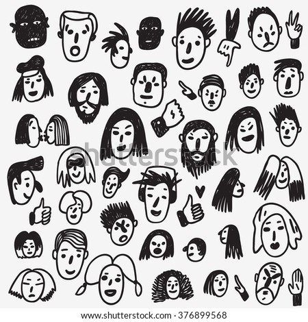 people faces  doodles  - stock vector