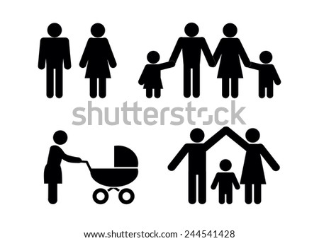 People family icons.  - stock vector