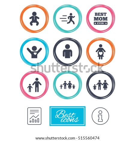People, family icons. Maternity, person and baby signs. Best mom, father and mother symbols. Report document, information. Vector