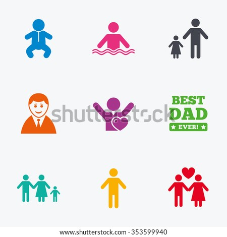 People, family icons. Swimming pool, love and children signs. Best dad, father and mother symbols. Flat colored graphic icons.