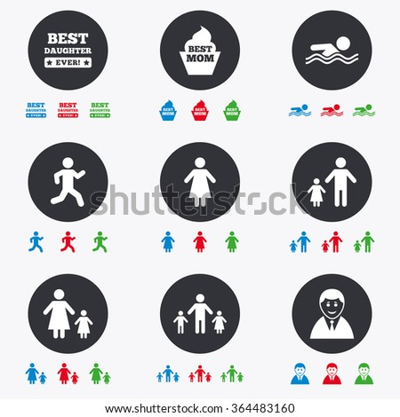 People Family Icons Swimming Pool Person Stock Vector Hd Royalty