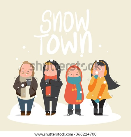People feeling freeze in snow town - cold, winter - Vector illustration - stock vector