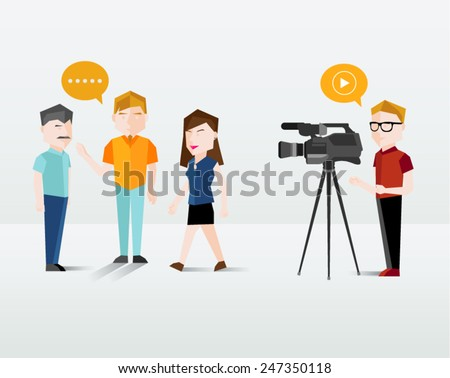 People Filming Using Video Camera Vector Illustration - stock vector