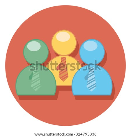 people flat icon in circle - stock vector