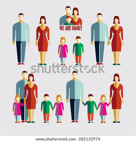 People flat icons. Family flat icons. - stock vector