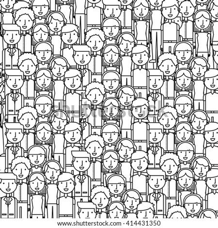 people flat line design  - stock vector