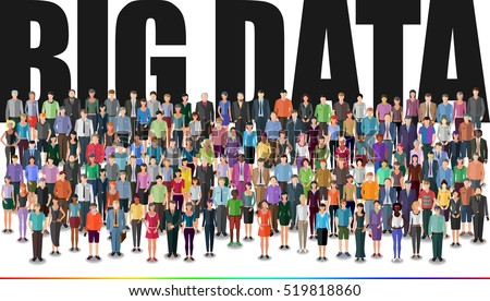 people forming huge crowd, big data conceptual illustration