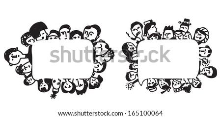People frame - psychologies or business concept illustration - stock vector