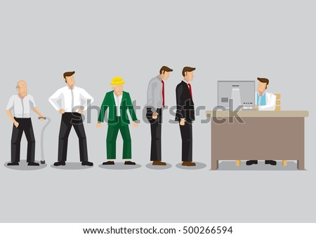 People from all walks of life standing in line waiting for their turn in front of administrative staff working on computer. Cartoon vector illustration isolated on plain background.