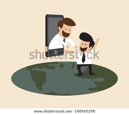 People from part of the world can see each other with internet technology - stock vector