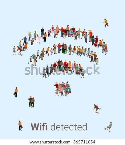 People getting connected. Large crowd or group of people forming the shape of an internet WiFi connection symbol on a white background. - stock vector