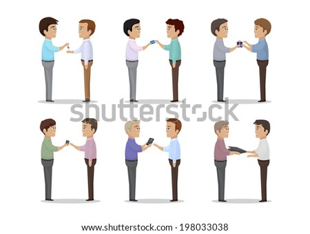 People Give Different Things As A Gift - Isolated On White Background - Vector Illustration, Graphic Design Editable For Your Design   - stock vector