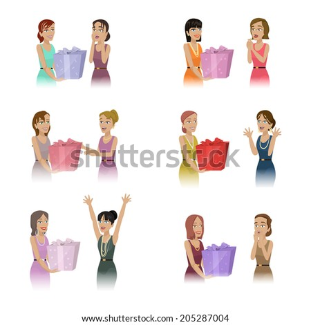 People Giving Gifts Set - Isolated On White Background - Vector Illustration, Graphic Design Editable For Your Design  - stock vector