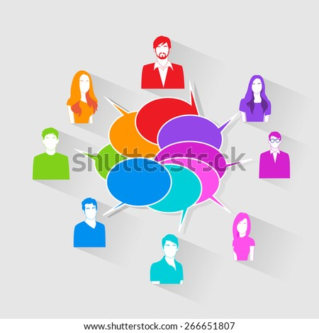 People Group Chat Social Network Communication Icons Colorful Vector Illustration