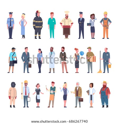 People Group Different Occupation Set Workers Profession Collection Flat Vector Illustration