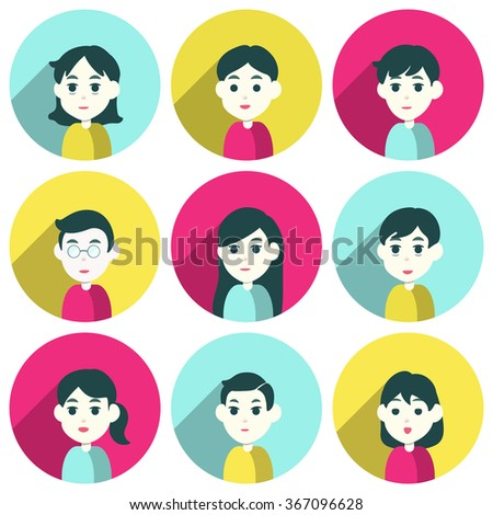 People group male and female faces avatars. flat style vector icons set - stock vector