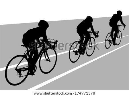 People group of cyclists in sport competition - stock vector