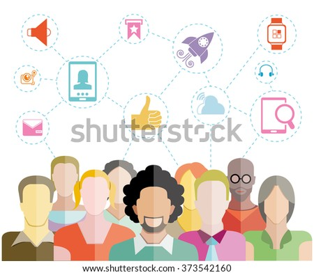 people group with social network concept, teamwork and leadership concept - stock vector