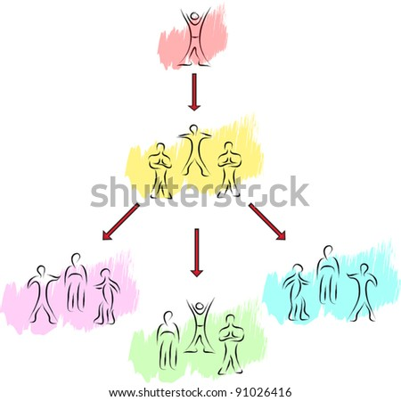 people groups concept sketch with arrows - stock vector