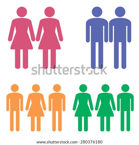 People, groups of people, different colors, he, she, two girls, two boys, boy girl boy girl boy girl. templates - stock vector
