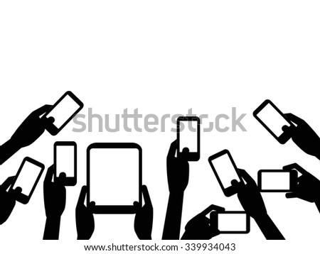People hands holding mobile phones background