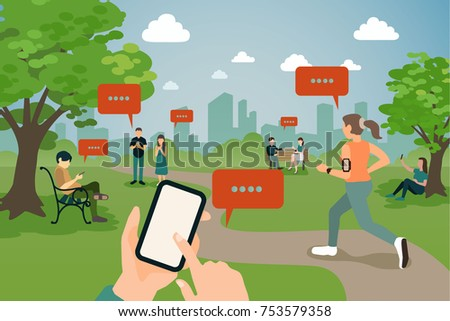People hanging in the park with smartphone.