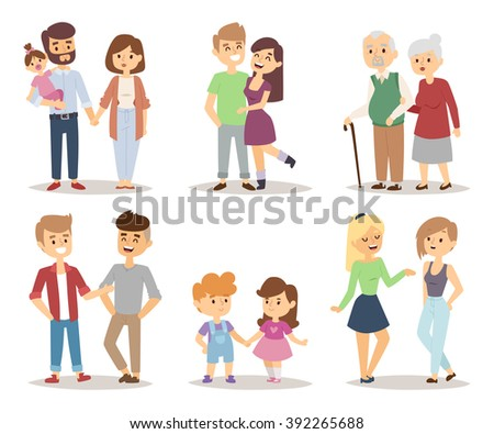 People happy couple cartoon and relationship people lifestyle couple cartoon vector. People couple relaxed cartoon vector illustration set.  - stock vector