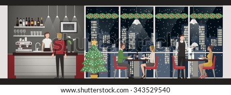 People having a Christmas eve's dinner at the rooftop restaurant, skyline and snow on background, lifestyle and celebration concept - stock vector