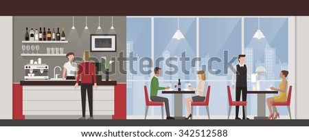 People having lunch in a luxury exclusive rooftop restaurant, city skyline on background - stock vector