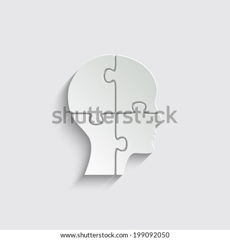 People head with puzzles elements on a grey background - stock vector