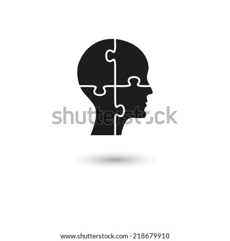 People head with puzzles elements - vector icon - stock vector