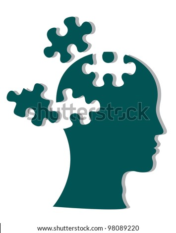 People head with puzzles for psychology concept. Vector illustration - stock vector