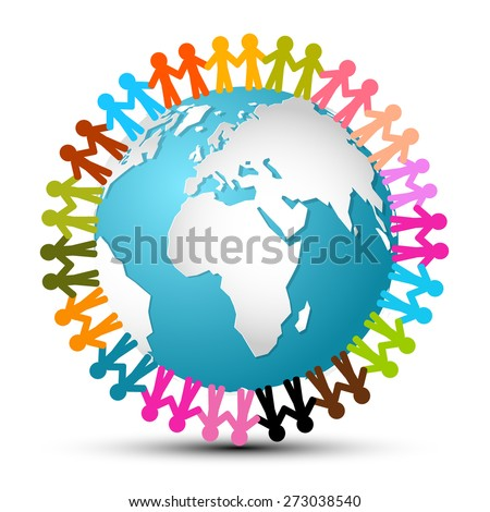 People Holding Hands Around Globe - Earth Vector - stock vector