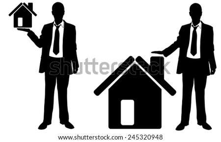 people holding houses isolated - stock vector