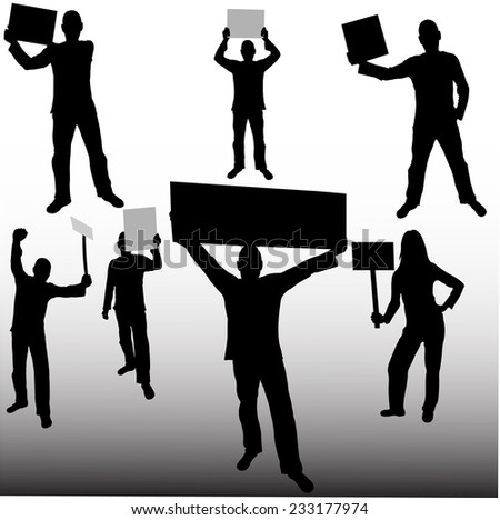 people holding sign - vector - stock vector