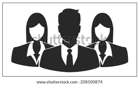 People icon, Group of business people with businessman leader on foreground