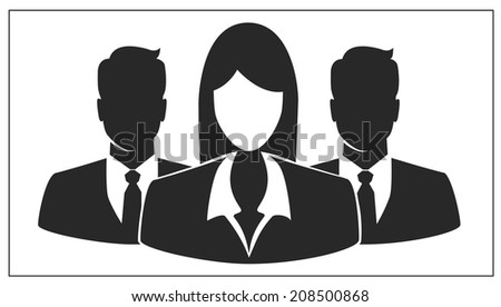 People icon, Group of business people with businesswoman leader on foreground  - stock vector
