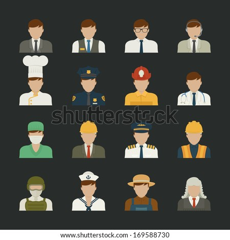 People icon ,professions icons , worker set , eps10 vector format - stock vector