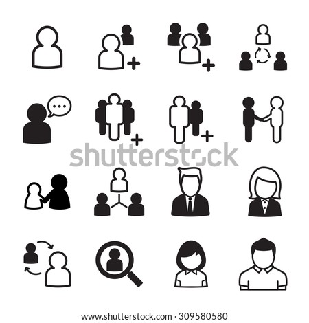 People icon set - stock vector