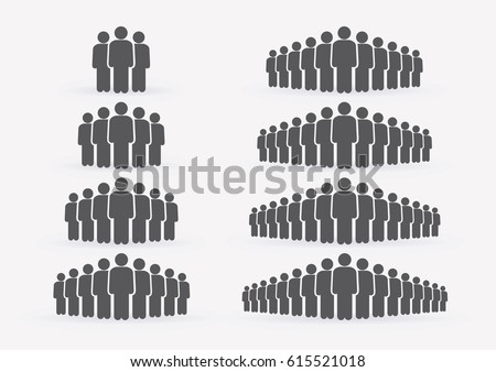 People Icon set in trendy flat style isolated on light background with shadow. Crowd signs. Persons symbol for your infographics web site design, logo, app, UI. Vector illustration, EPS10.