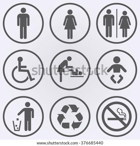People icon set . Toilet icons . No smoke sign . Recycle sign . Invalid icon . Vector illustration - stock vector