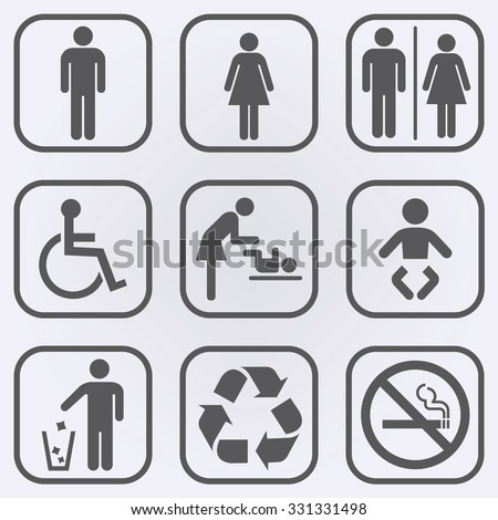 People icon set . Toilet Restroom Icon . Recycle symbol . No smoking sign . Vector illustration - stock vector