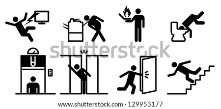 People icons: a variety of common accidents involving office equipment and fixtures. Electrocution, items caught in equipment, fire, stuck elevator, compactus crush, etc.
