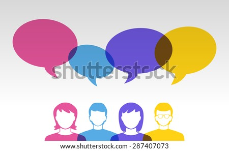people icons and colorful speech bubbles