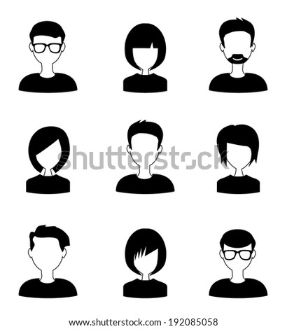 people icons black and white - stock vector