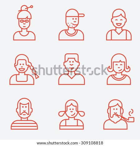 People icons, flat design, thin line style - stock vector