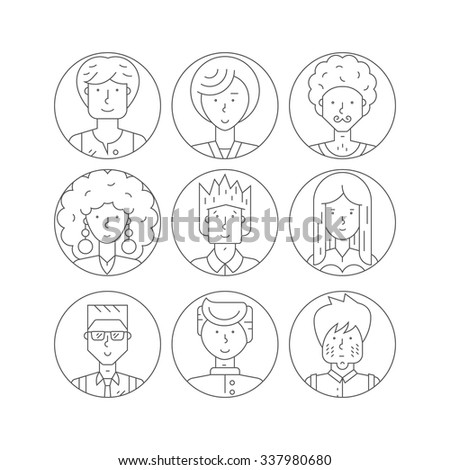 People icons illustration. Avatar collection with man and women portraits made in line style vector. Perfect people illustration for social media and app design.